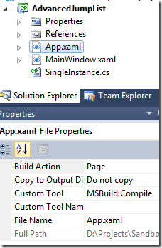 WPF: Advanced Jump Lists using a Single Instance Application