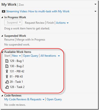 My Work Kanban Support in Visual Studio 2012 Update 2